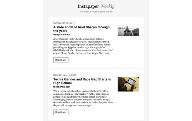 Instapaper Weekly, An Email Newsletter Of The Week's Best News