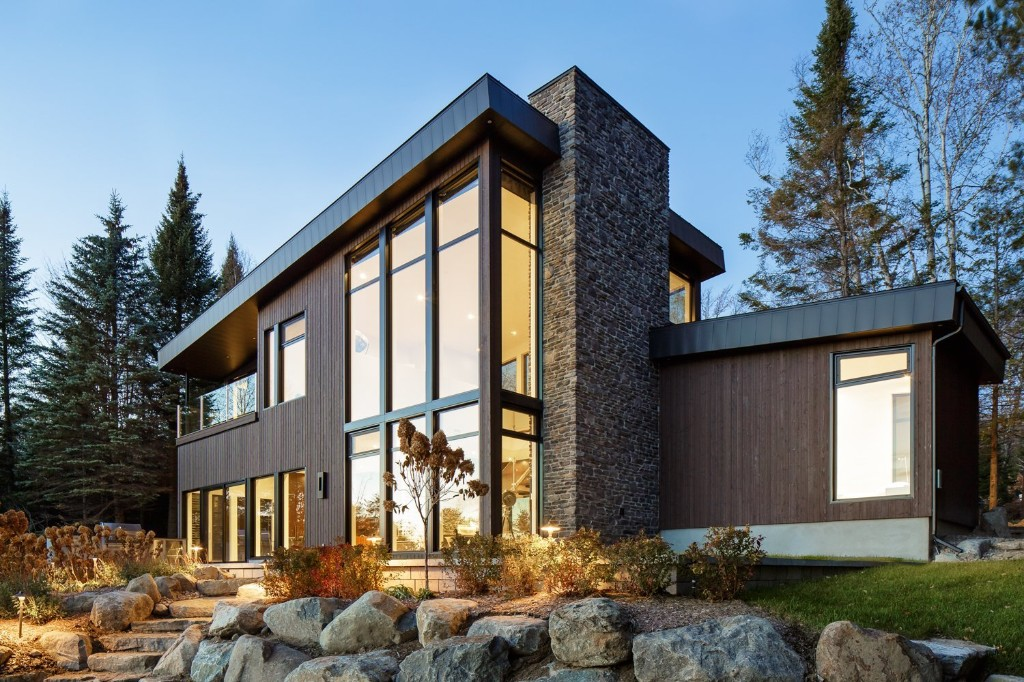 Modern Lake Cabin Modern Home in Québec, Canada by BONE Structure