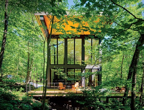 Articles about little cabin cantilevered over rocky ledge mountains on Dwell.com