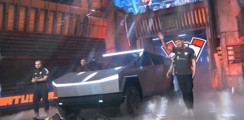 Tesla Cybertruck with laser blade lights shows up at esports Dota 2 game event - Electrek