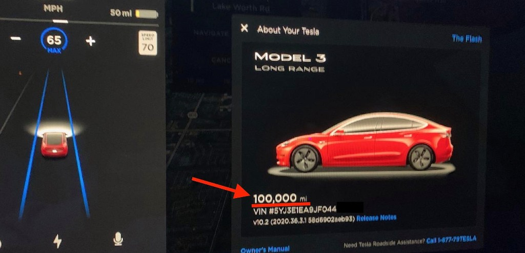 Tesla Model 3 with 100,000 miles shows extreme low cost and minimal battery degradation - Electrek