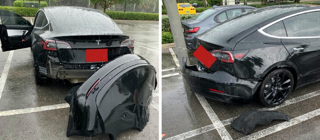 Video of Tesla Model 3 losing rear bumper in puddle of water goes viral - Electrek