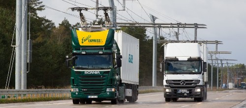 First overhead contact line to charge moving electric trucks is being built on Autobahn in Germany - Electrek