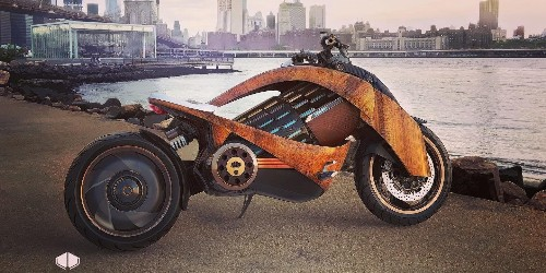This wooden body, shaft-drive electric motorcycle could be here next year