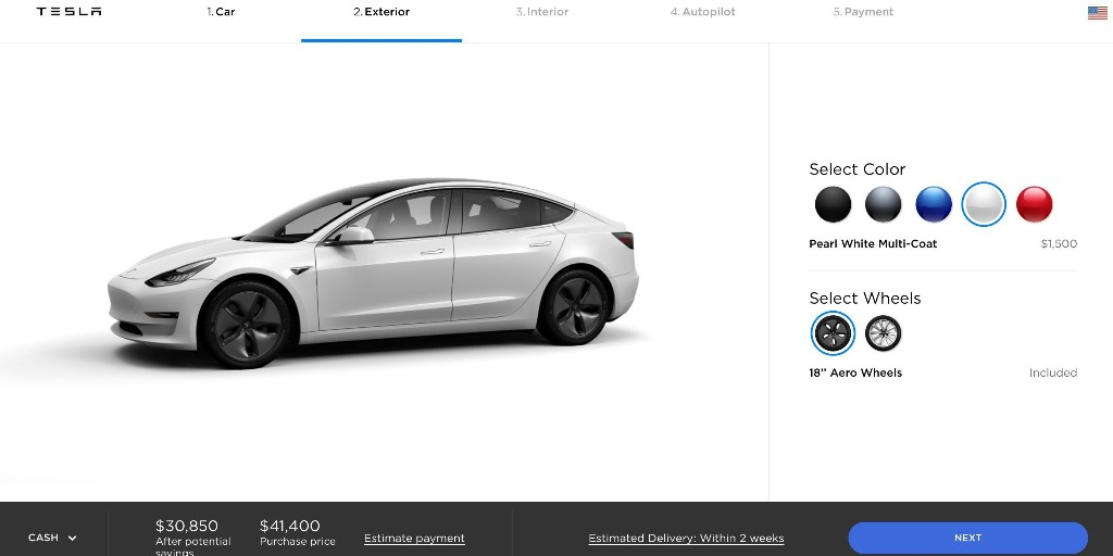 Tesla changes its standard paint color from black to white - Electrek
