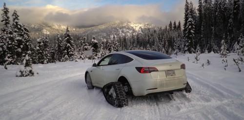 Crazy Tesla owner turns Model 3 into tank with snow tracks - Electrek