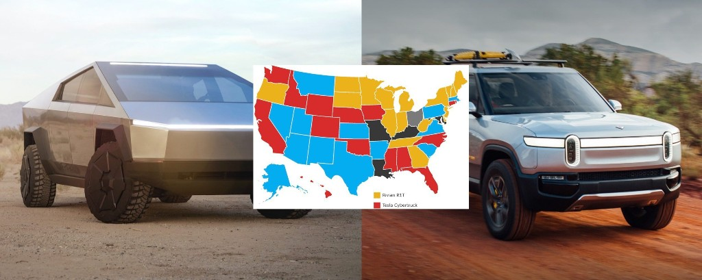 Tesla Cybertruck and Rivian R1T neck and neck in electric pickup demand, survey shows - Electrek