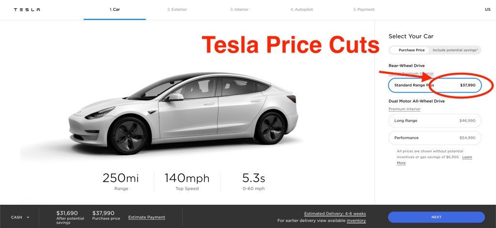 Tesla cuts prices across lineup, Model 3 now starts at $37,990 - Electrek