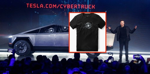 Tesla turns Cybertruck window-breaking mishap into t-shirt, launches new apparel