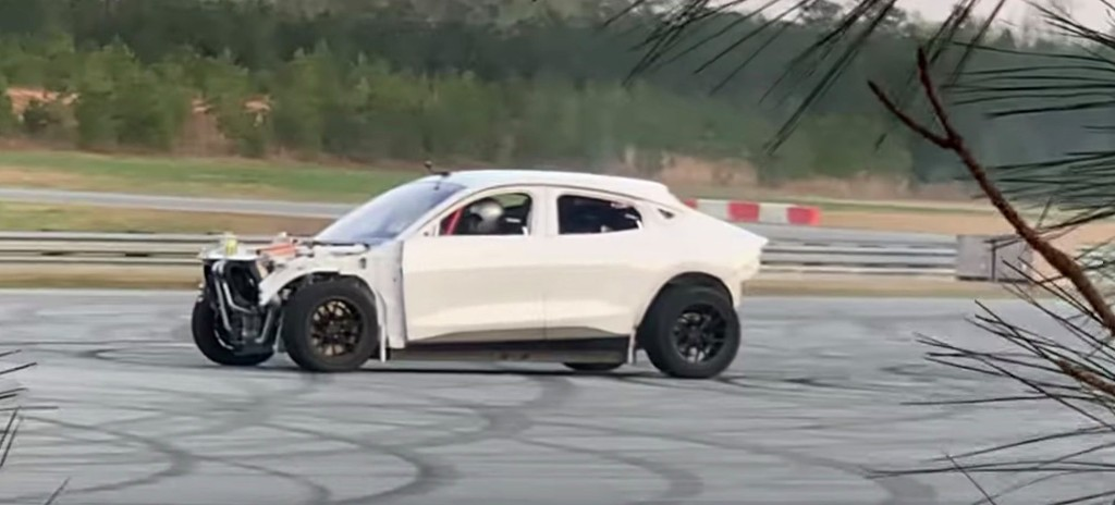 Watch Ford Mustang Mach-E do donuts in strange bigfoot sighting-like video - Electrek