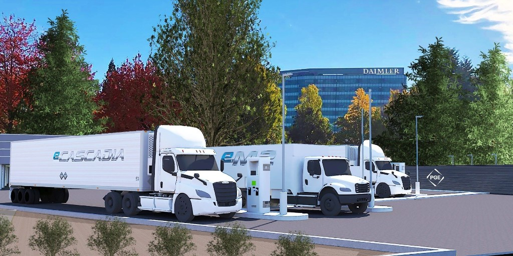 Portland and Daimler team up for 5MW electric semi public charging 'Island' - Electrek