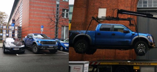 Tesla ICEd by pickup truck gets satisfying justice as police lift it off with crane - Electrek