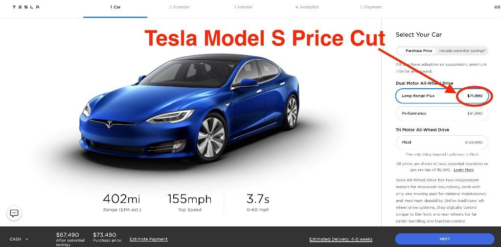 Tesla (TSLA) slashes Model S price, now starts at just $71,990 - Electrek