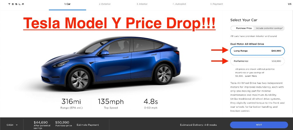Tesla reduces Model Y prices, now starts below $50,000 - Electrek
