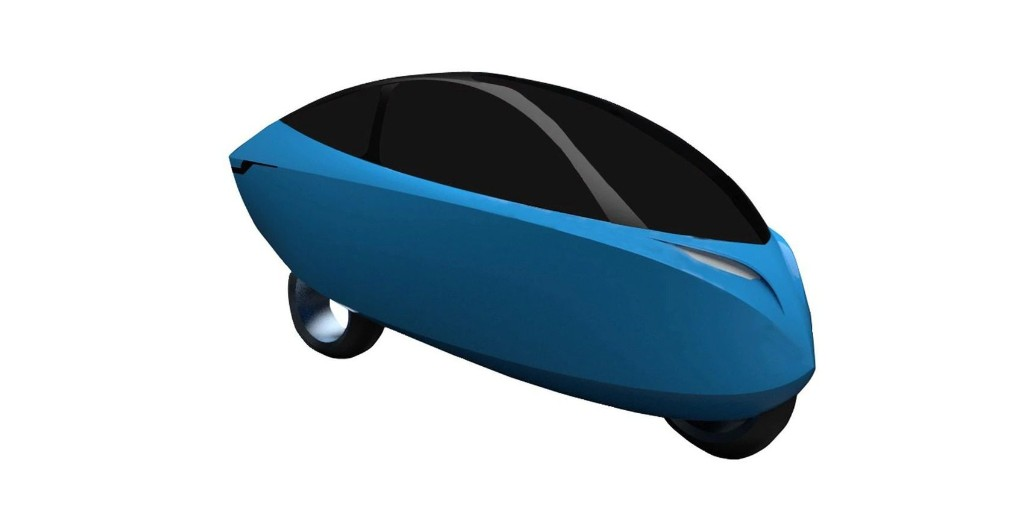 This odd-looking vehicle is reportedly Lightning's enclosed electric motorcycle - Electrek