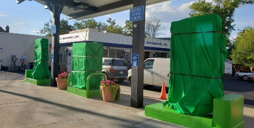 Gas station removes gas pumps to make space for electric car-charging stations