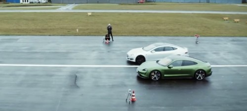 Porsche Taycan beats Tesla Model S in drag race and handling comparison test with caveats