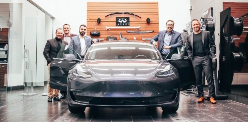 Infiniti delivers Tesla Model 3 to loyal customer who wanted to go electric, due to lack of options