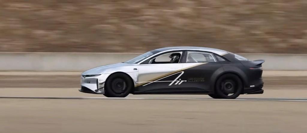 Lucid beats Tesla Model S Plaid prototype on racetrack with its own tri-motor Air test vehicle - Electrek