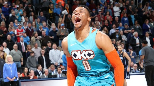 Thunder's Russell Westbrook notches his 7th straight triple-double, tying Michael Jordan