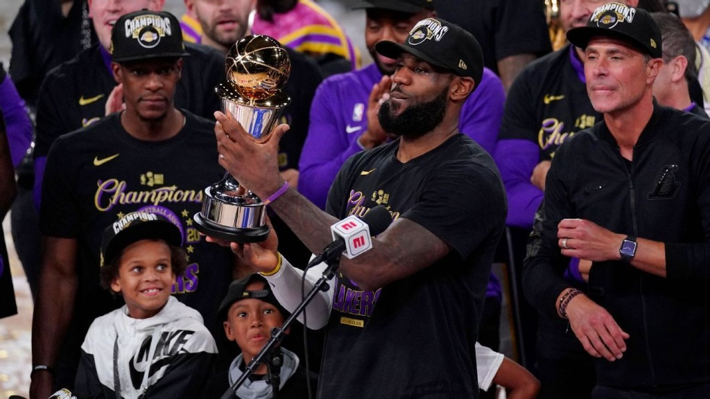 LeBron James of Los Angeles Lakers claims fourth NBA Finals MVP