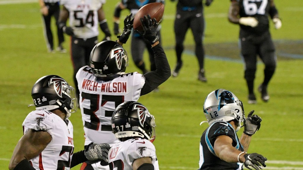 Late interception helps Atlanta Falcons preserve fourth-quarter lead vs. Carolina Panthers