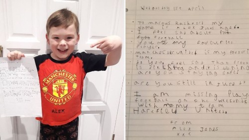 Rashford's reply to young fan's lovely letter: 'I'm sad about not playing football too'