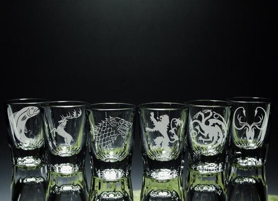 Game of Thrones Inspired - House - Etched Shot Glasses - Set of 6