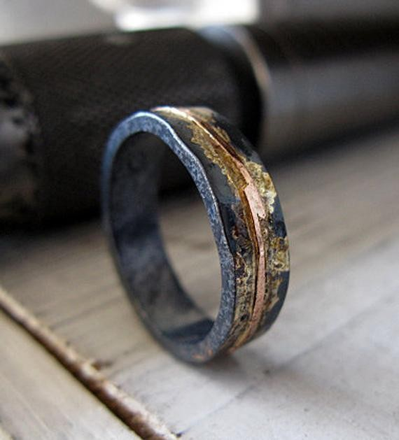 14K Rose Gold Sterling Silver 14K Gold Mixed Metal Ring Custom Wedding Band 5mm Hammered Mens Ring Oxidized Silver