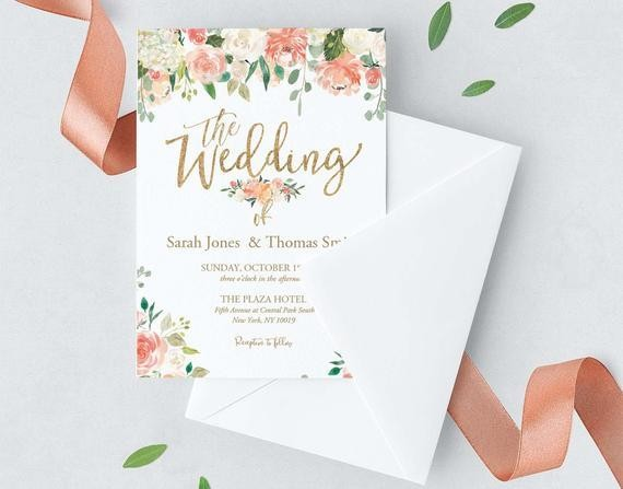 Self-Editing Floral Wedding Invitation-Watercolor flower | Etsy