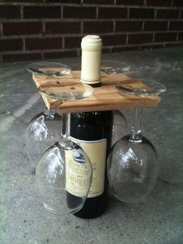 Party of Four hardwood rack for wine bottle and four glasses. Inventory clearance: 10.00 each, free shipping. Great host gift.