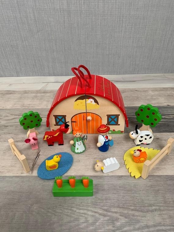 Personalized farm house wooden toys