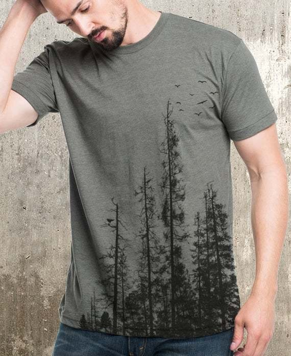 Men's Pine Tree Forest T-Shirt - Screen Printed Men's T-Shirt