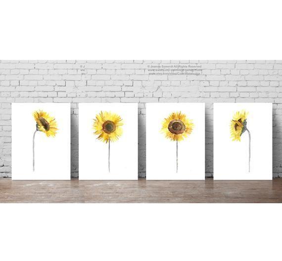 Sunflower set 4 Yellow Grey Brown Illustration Dining Room   Etsy