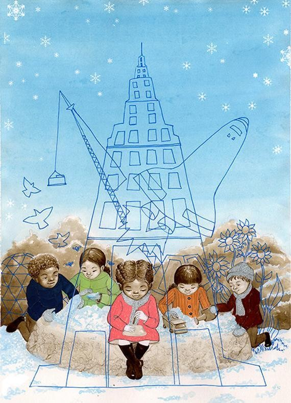 Uplifting 'Little Builders' print