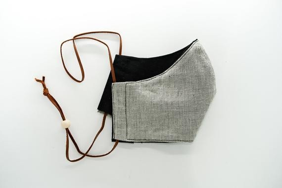 Reversible Mask with Leather Tie