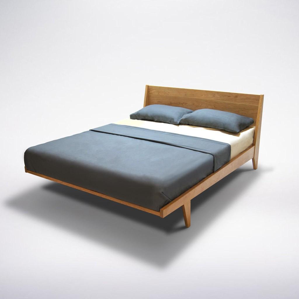Modern Platform Bed Cherry Mid Century Modern Danish Solid Wood twin full double queen king Organic Finish