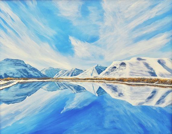 Maskinonge Waterton Lakes Winter Reflection