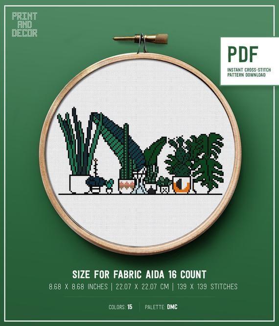 Home garden Cactus Plants and Pots Modern Cross Stitch Pattern Green Nature Leaf Instant download PDF pattern DIY punto de cruz hoop art