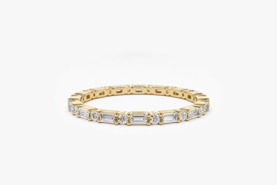 14k Gold Alternating Baguette Diamond and Round Diamond Full | Etsy