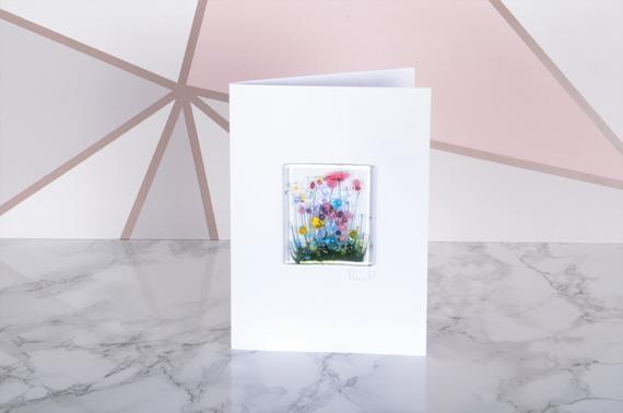 Handmade Fused Glass Art - Cards - Wildflower, Cornflower, Blooming, Violet, Daffodil, Daisy, Gerbera, Poppy, Beach