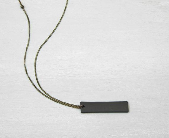 BLACK BAR NECKLACE, Personalized Mens Necklace, Unisex Minimalist Black Pendant, Valentines gift for him, by Bohemian Fringe