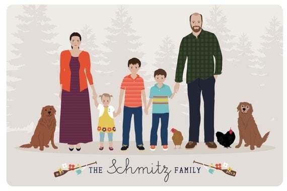 Custom Family Portrait, family illustration