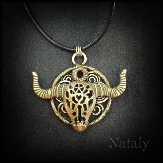 Taurus Necklace Wire Wrapped Pendant Necklace Zodiac   Etsy