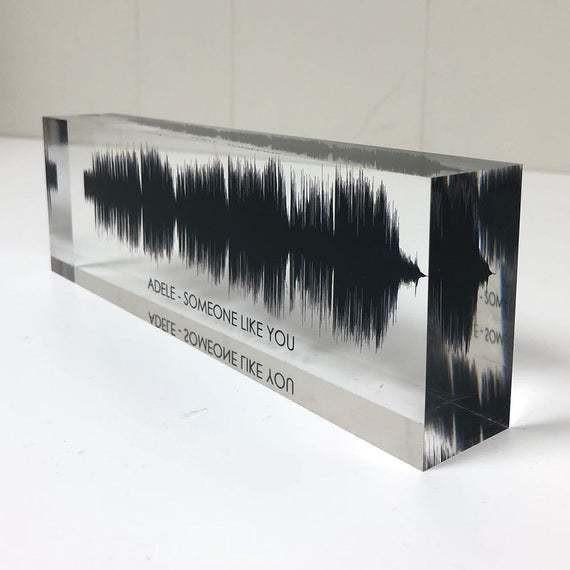 Sound Wave Art, Custom Sound Wave Print, 3D Soundwave Gift, Personal Voice Wave, Sound Clip on Premium Clear Acrylic Glass Block