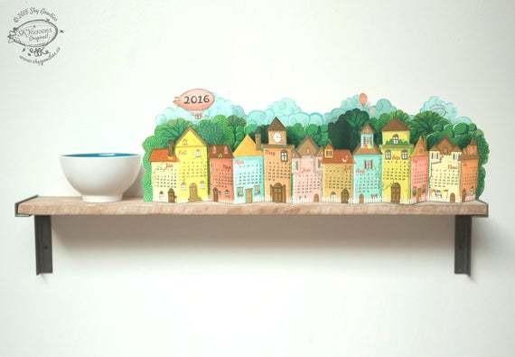 2020 Calendar | 3D Landscape Desk Calendar made of Paper | DIY Printable A4 template | Instant Download | Village Rustic Pretty Gift Shelf