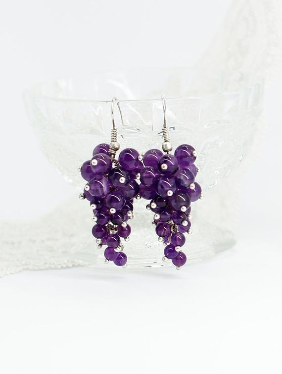 Purple amethyst earrings Amethyst jewelry Mothers day gifts | Etsy