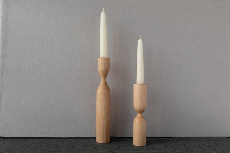 Set of 2 maple candle holders