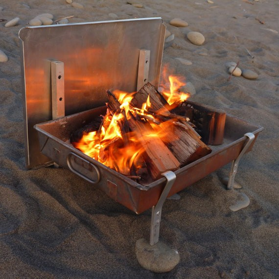 Large Wilderness FIRE PAN - A Complete Light Weight Fire Pit and grill for Rafting and and Camping (Ships after August 5)