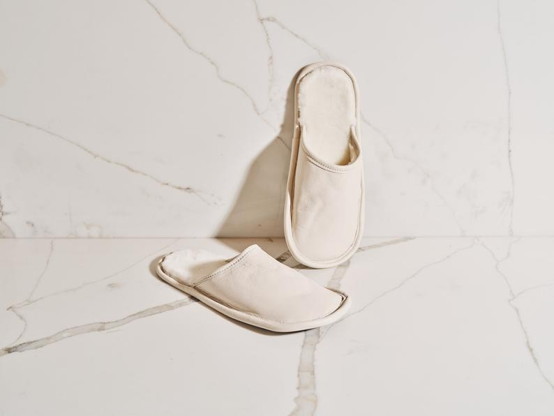 White leather slippers perfect for cocooning